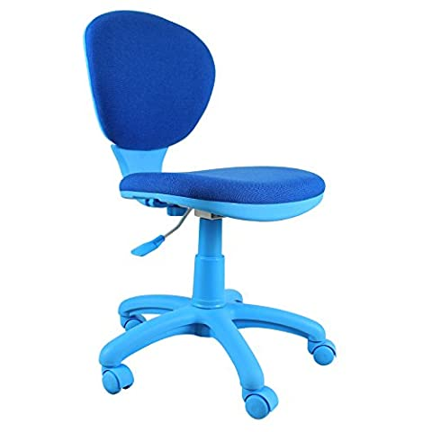 Clearance Emall Life Mid-back Desk Chair 360° Adjustable Swivel Office Chair Armless Fabric Task Chair (Blue)
