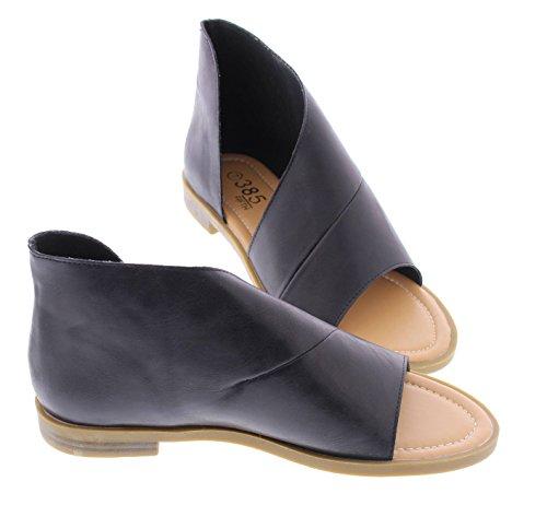 Faux Leather Strappy Heel Sandal (385 FIFTH Women's Faux Leather Half D'Orsay Open Toe Asymmetrical Wrap Flat Sandal Black 10 US)