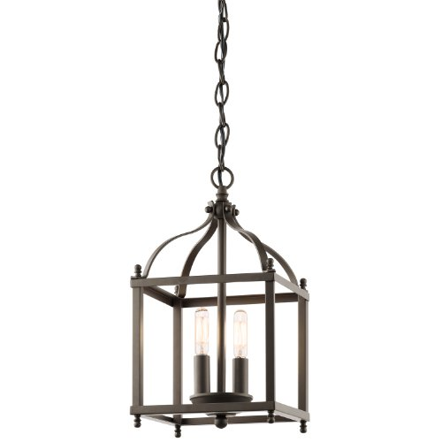 Kichler 42565OZ Larkin 2-Light Foyer Pendant in Olde Bronze Entry Lantern Foyer Lights