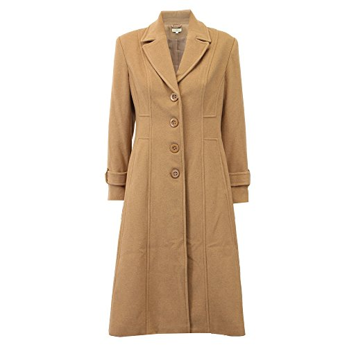 Ladies Wool Cashmere Coat Womens Jacket Outerwear Trench Overcoat Winter Lined Camel - WOLP1053