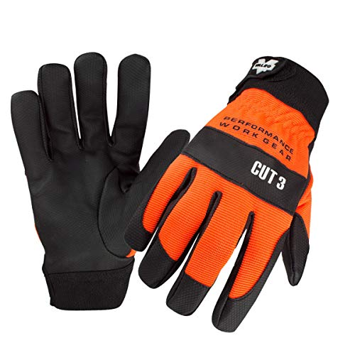 (Valeo Industrial V110 Mechanics ANSI Cut 3 Hi Vis Gloves for Construction, General Purpose, Driver, Rigger, and Safety, VI9552, Pair, Orange, XXL)