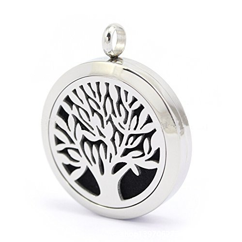 Perfume Locket Necklace - Personal Beautiful Stainless Steel Aromatherapy Diffuser Necklace with 6 Replacement Felt Pads for Essential Oil - Solid Diffusing Filigree Carving Pendant Jewelry