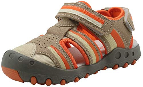 (Apakowa Kid's Boy's Summer Outdoor Athletic Double Strap Closed-Toe Water Sandals (Toddler/Little Kid) (Color : Orange/Grey, Size : 7 M US Toddler))