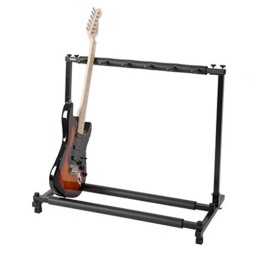 (Kuyal 5 Holder Guitar Stand,Multi-Guitar Display Rack Folding Stand Band Stage Bass Acoustic Guitar,)