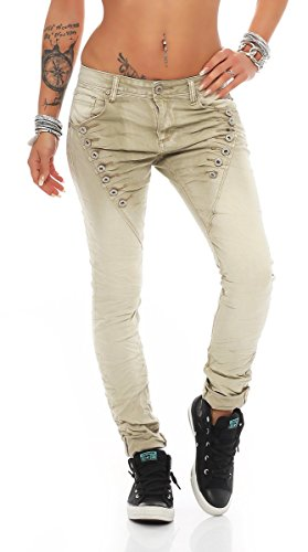 Femme turquoise Jeans 40 empire turquoise Fashion4Young M Taille Beige tqfwTPRn