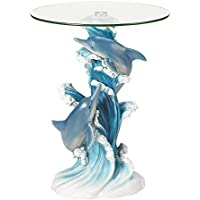 Sculptural Table, Rustic Playful Dolphins Sculpture End Table Glass Top