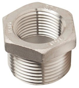 3/4'' M x 1/4'' F 150 lb 304 Stainless Steel Threaded Cast Hex Bushing