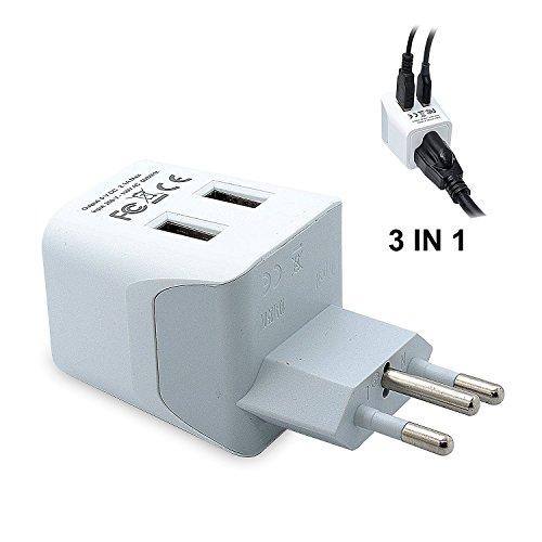 Ceptics USA to Brazil Travel Adapter Plug  With Dual USB - T