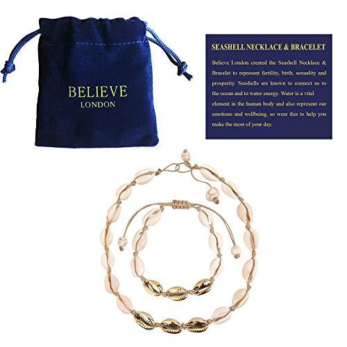 Believe London Shell Bracelet (Brown & Gold Necklace & Bracelet Set)