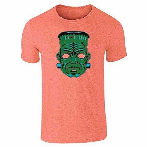 Frankenstein Retro Mask Halloween Costume Horror Heather Orange L Short Sleeve T-Shirt