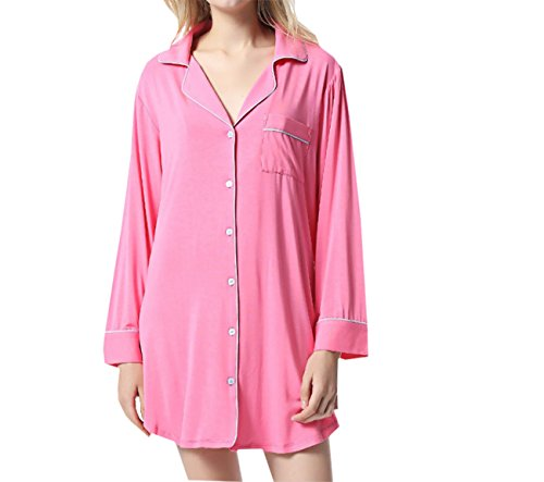 pigiama donna Rose Red Home da Color a inverno Camicia maniche da Primavera primavera Dimensione estate e Adatto sexy Autunno Black Risvolto e notte Camicia lunghe per Pigiama Donna Autunno da Pigiama 5qOanwAq