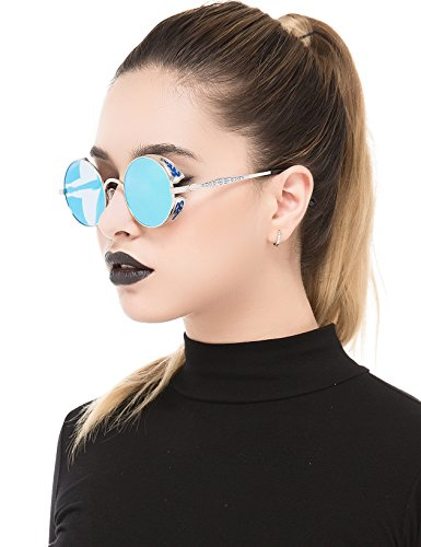 BAVIRON Gothic Steampunk Round Sunglasses Metal Frame Retro Glasses - Dark Really Sunglasses