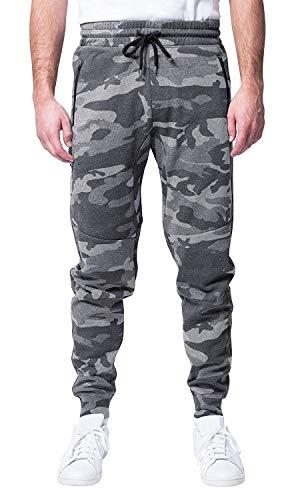 Brooklyn Athletics Men's Fleece Jogger Pants Active Zipper Pocket Sweatpants, Gray Camo, Medium (Sweatpants Orange Mens Camo)