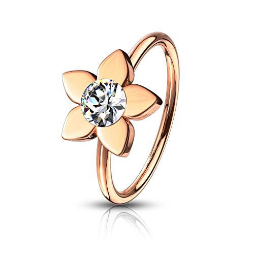 Amelia Fashion 20 Gauge Jeweled Flower Nose Hoop/Cartilage Ring Annealed 316L Surgical Steel (Rose Gold & Clear) (Flower Septum Ring)
