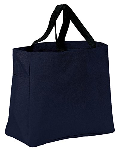 Port & Company luggage-and-bags Improved Essential Tote OSFA Navy 600 Denier Polyester Tote