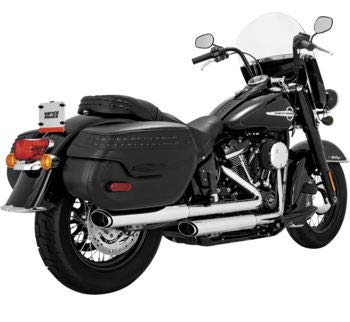 Vance & Hines 16879 Chrome Twin Slash Oval Slip-Ons Mufflers for 2018-Newer Harley M8 Softail Deluxe and Heritage Classic Models ()