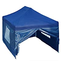 DELTA Canopies 10'x15' Ez Pop up Canopy Party Tent Instant Gazebos 100% Waterproof Top with 4 Removable Sides Navy Blue - E Model