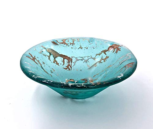 - Aquamarine Blue Handcrafted Fused Glass Decorative Bowl With Metallic Accents