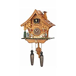 Musical Black Forest Quartz Chalet Style Heidi Haus Cuckoo Clock with Towns People