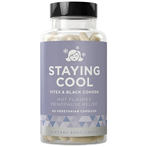 STAYING COOL Hot Flashes & Menopause Relief - Night Sweats, Severe Pain, Mood Swings, Weight Gain, Inconsistent Sleep, and Dryness - Vitex & Black Cohosh - 60 Vegetarian Soft Capsules