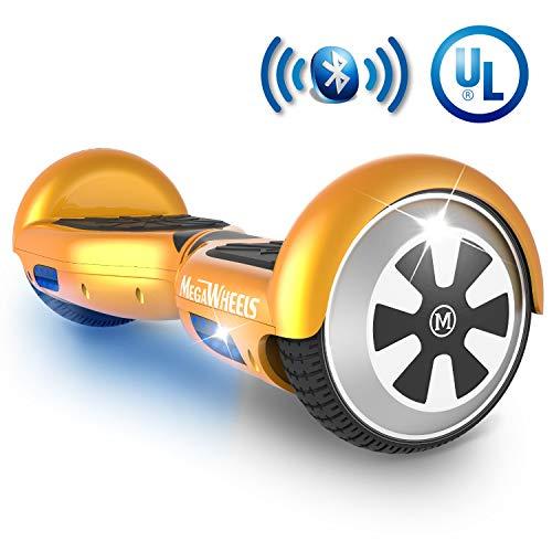 MEGAWHEELS Hoverboard - UL Certified Self Balancing Hover Board with Bluetooth Speaker & LED - Skateboard Gold Wheels