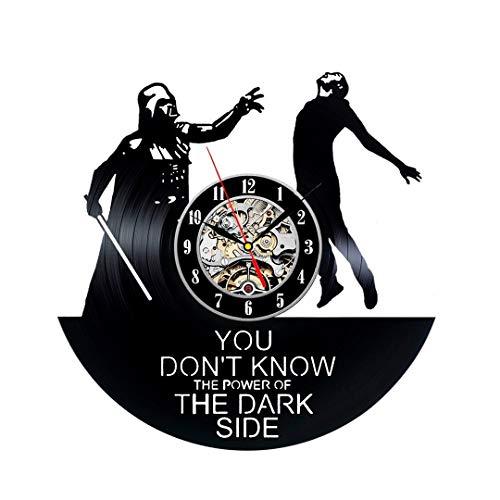 Kovides Star Wars LP Clock Film Movie Star Wars Art Birthday Gift Idea for Fan Retro Vinyl Record Clock Vintage Wall Clock Darth Vader Decorations for Party Star Wars Wall Clock Large -