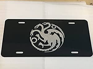 Targaryen Dragon logo Car Tag Diamond Etched on Black Aluminum License Plate