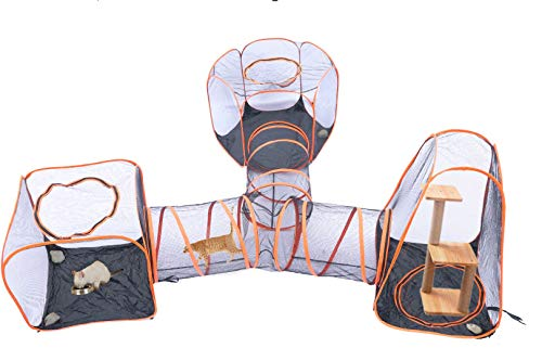 Compound Pet Play House, Portable 4 in 1 Pet Tent, Indoor/Outdoor Cage, Dog Cat Playpen House Crate Cage Fences Tunnel Playhouse, Pop Up Folding Enclosure Playpens For Cat, Dog, Rabbit, Puppy, Pet