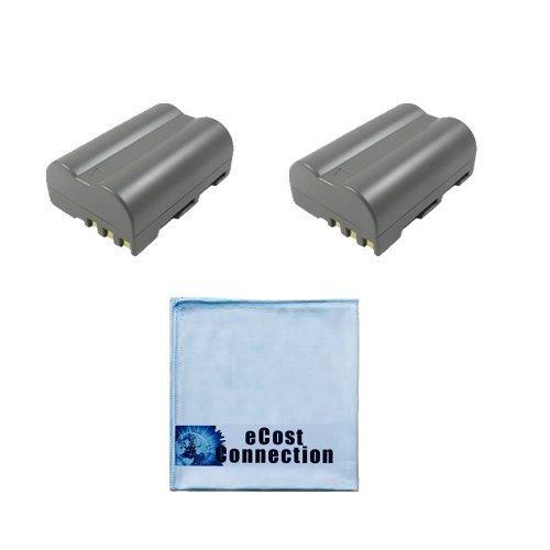 2 Replacement EN-EL3E Batteries for Nikon DSLR D300, D700, D90, D70 &More Cameras Lithium Ion and an eCost Microfiber Cloth (Battery For Nikon D70 Camera)