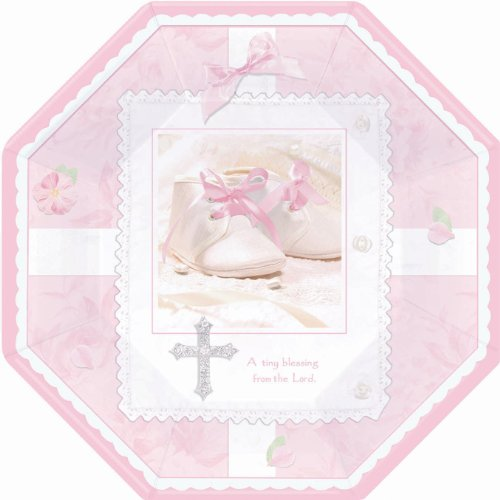 (Tiny Blessing Pink Octagonal Dinner Plates (8 count) Party Accessory by CoolGlow)