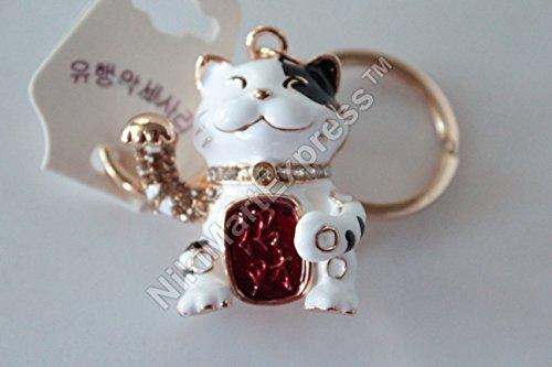 Bejewelled White Maneki Neko Waving Paw Hand Beckon Cat Key Chain Hangbag Hanging Charm Lucky Feng Shui Protection