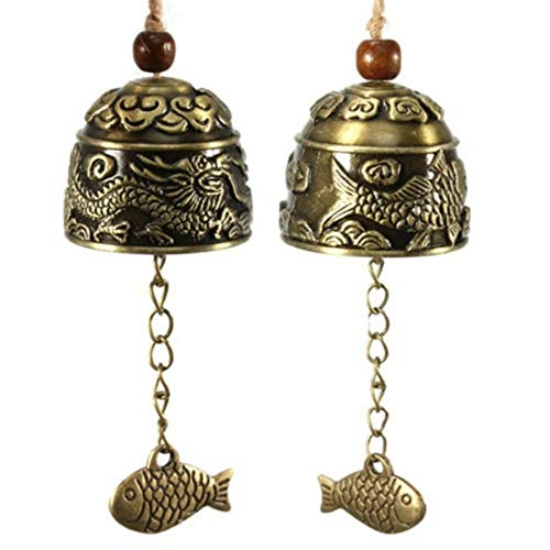 Blessing Bell Luck Dragon/Fish Feng Shui Bell Blessing Good Luck Fortune Hanging Wind Chime Decorative Pendant Drop,Copper