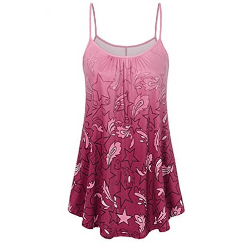 FONMA Women Sexy Summer Tank Tops Printing Shirt Sleeveless Vest Casual Blouse Hot Pink ()