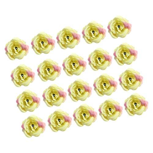 (20x Artificial Silk Rose Flower Head Wedding Corsage Wrist Flower DIY Craft  Color - Light Green )