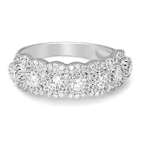 Friendly Diamonds IGI Certified 100% Real Diamond Rings for women 1 1/2 cttw 14K White Gold Lab Grown Diamond Ring 7 Stone Halo Diamond Ring SI1-SI2-HI Quality Pure Diamond Ring for Women (Best Way To Clean Diamond Ring)
