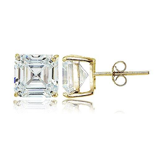 Yellow Gold Flashed Sterling Silver Cubic Zirconia Asscher Cut Stud Earrings (Stud Asscher)