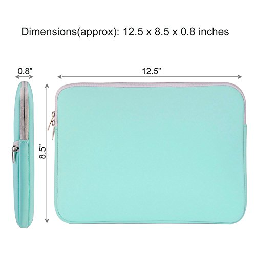 HESTECH Chromebook Case, 11.6-12.3 inch Neoprene Laptop Sleeve Case Bag Handle Compatible with Acer Chromebook r11/HP Stream/Samsung Chromebook/MacBook air 11/, Mint Green by HESTECH (Image #3)