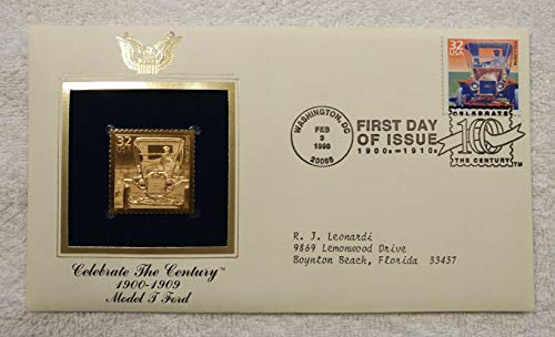 The Model T Ford - Celebrate the Century (The 1900s) - FDC & 22kt Gold Replica Stamp plus Info Card - Postal Commemorative Society, 1998 - The Automobile, Car, Tin Lizzie, Henry Ford, Assembly Line, Mass Production