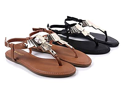 BAMBOO T-Strap Women Thong Slingback Buckle Closure Electroplate Decor Sandals