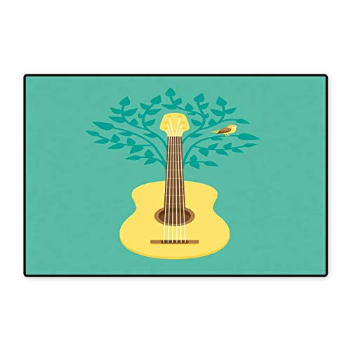 Guitar Door Mats Area Rug Music Inspired Illustration Floral Pattern Bird Retro Style Instrument Nature Floor mat Bath Mat 20