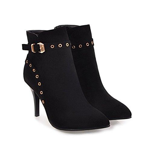 XZ de de Mariage Chaussures Pointu Rivet Haut Ceinture Noir Boucle Élégant Mince Talon Mode nH7xXnw