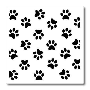 Dog Paws White Case - 3dRose ht_161521_3 Paw Print Pattern - black Pawprints on White - Cute Cartoon Animal Eg Dog or Cat Footprints - Iron on Heat Transfer, 10 by 10