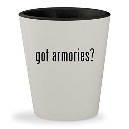 Got Armories    White Outer   Black Inner Ceramic 1 5Oz Shot Glass