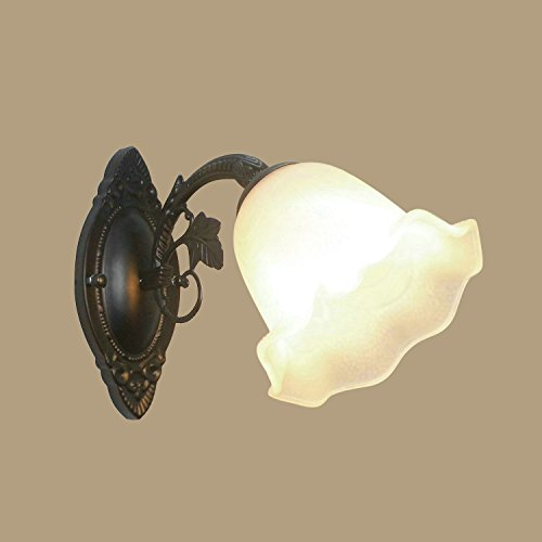 RLYYBE1 European single head wall lamp retro bedroom American village iron floor living room TV wall mirror headlight aisle lighting, E section with lily + white large kapok shade