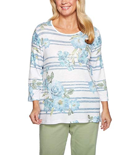 Alfred Dunner Women's Greenwich Hills Floral and Stripe Sweater (Petite Medium)