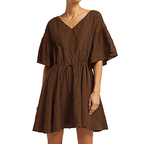 iPOGP Women Blouse Solid Short Sleeve Kaftan V-Neck Waist Bandage Maxi Dress Pockets Loose Baggy Linen Dresses(Coffee,XXXXXL)