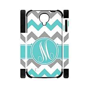 Custom White Grey Teal Chevron Monogram Samsung Galaxy S4 Two-In-One Rubber+Plastic Cover Case
