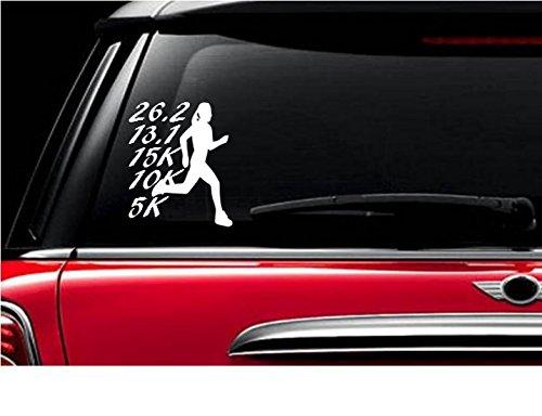StickerLoaf Brand Runner Running Girl Resume 5k 10k 15k 13.1 26.2 Marathon List marathon race runners list decal decals RUNNING car window laptop - Checklist Race