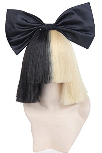 Half Blonde and Black 2 Tone Hair Short Straight Cosplay Costume Wig for Women (wig and bow)