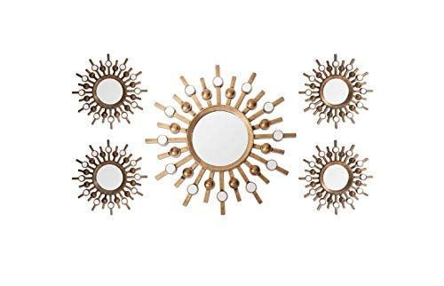 Stratton Home Decor Burst Bronze Wall Mirrors Set of 5, SHD0087 ()